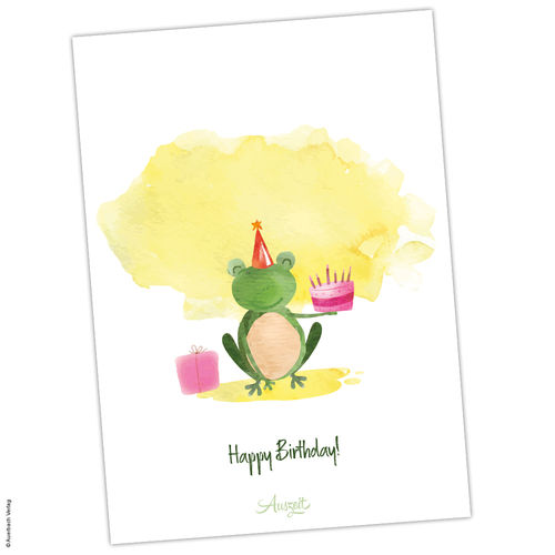 "Postkarte Frosch ""Happy Birthday"""