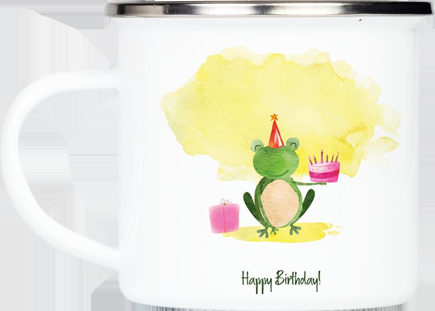 """Tasse Frosch """"Happy Birthday!"""" (330, 340, 450 ml / mit od. ohne Spruch)"""