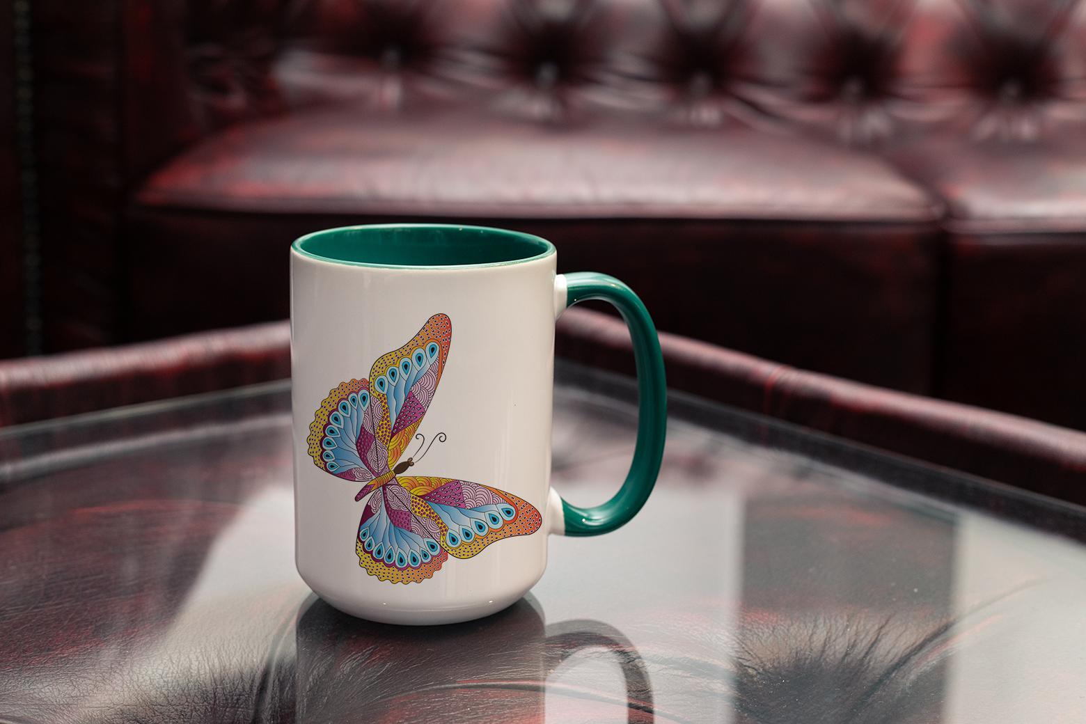 """Tasse Krafttier Schmetterling """"Vollkommene Wandlung"""" (330, 340, 450 ml / mit od. ohne Spruch)"""
