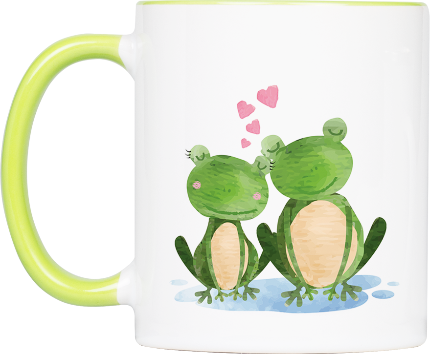 """Tasse Frosch """"Verliebt"""" (330, 340, 450 ml / mit od. ohne Spruch)"""
