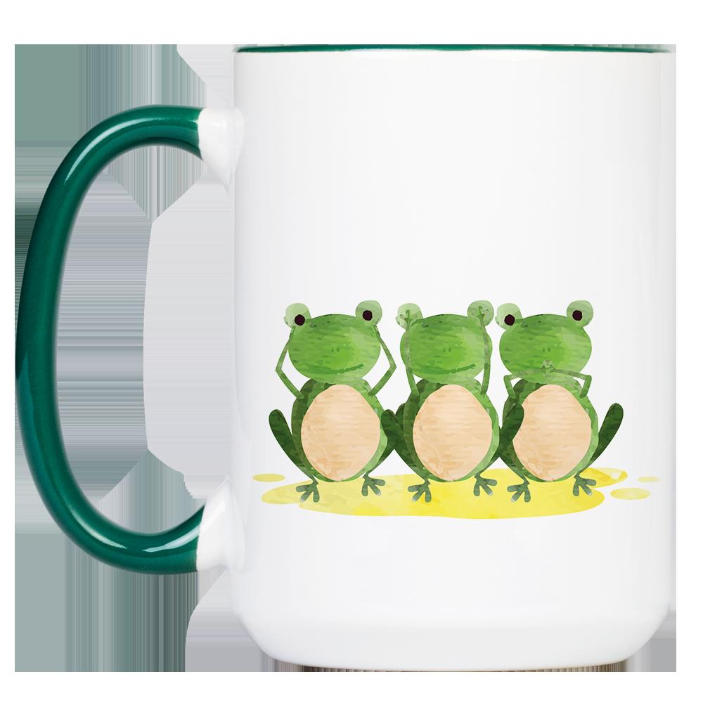 """Tasse Frosch """"Sinne"""" (330, 340, 450 ml / mit od. ohne Spruch)"""