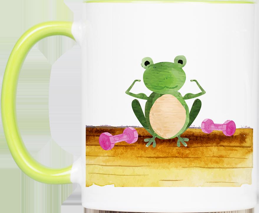 """Tasse Frosch """"Training"""" (330, 340, 450 ml / mit od. ohne Spruch)"""