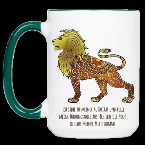 """Tasse Krafttier Löwe """"Kraft aus der Mitte"""" (330, 340, 450 ml / mit od. ohne Spruch)"""