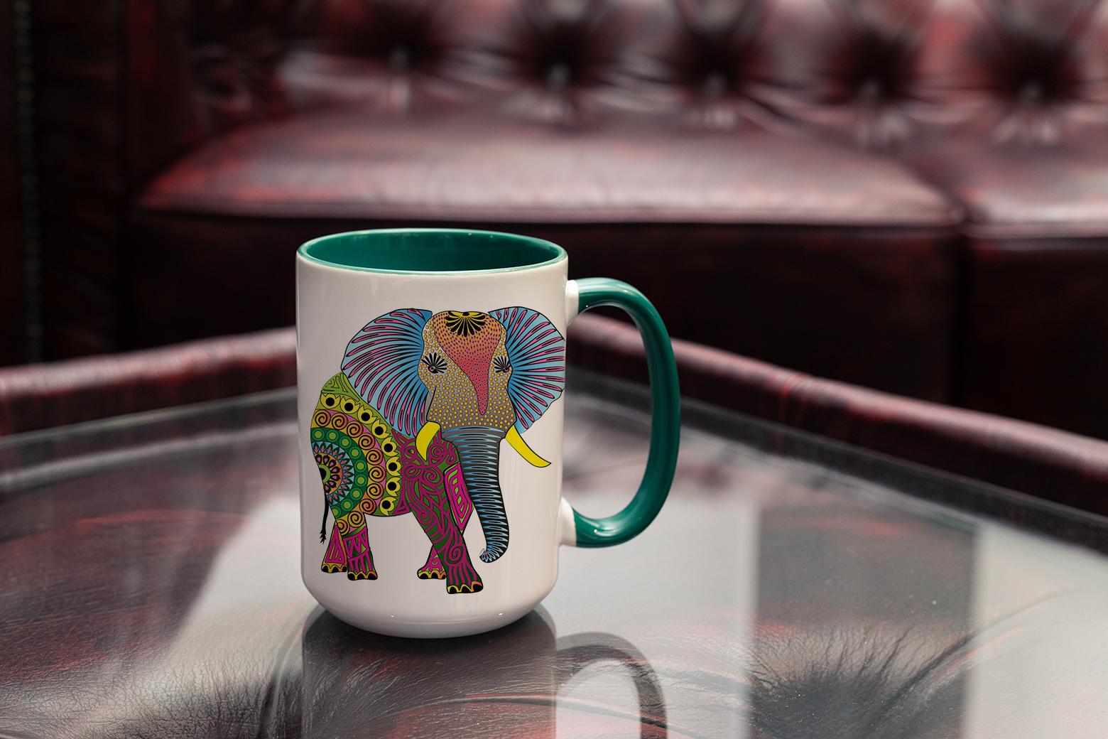 """Tasse Krafttier Elefant """"Entscheidung aus dem Herzen"""" (330, 340, 450 ml / mit od. ohne Spruch)"""