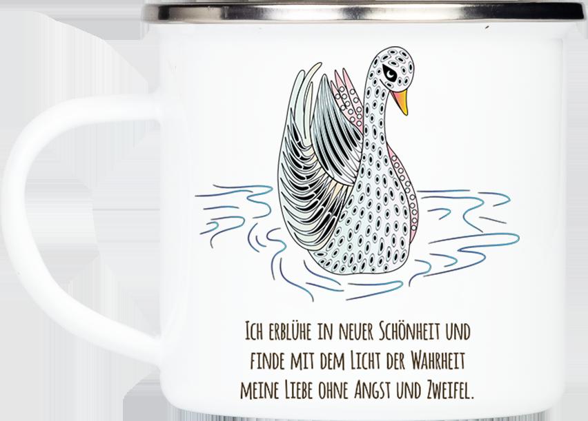 """Tasse Krafttier Schwan """"Schönheit & Wahrheit"""" (330, 340, 450 ml / mit od. ohne Spruch)"""