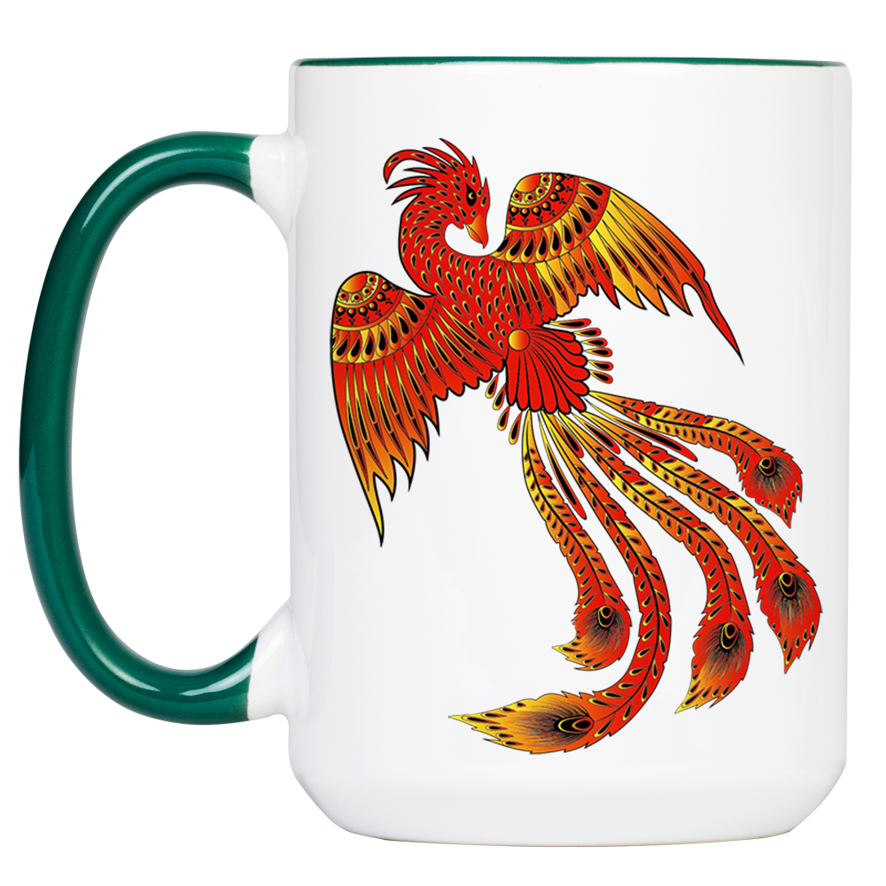 """Tasse Krafttier Phoenix """"Neu geboren"""" (330, 340, 450 ml / mit od. ohne Spruch)"""