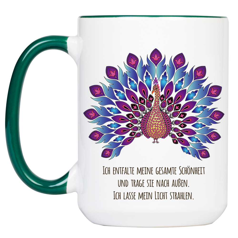 """Tasse Krafttier Pfau """"Schönheit & Licht"""" (330, 340, 450 ml / mit od. ohne Spruch)"""