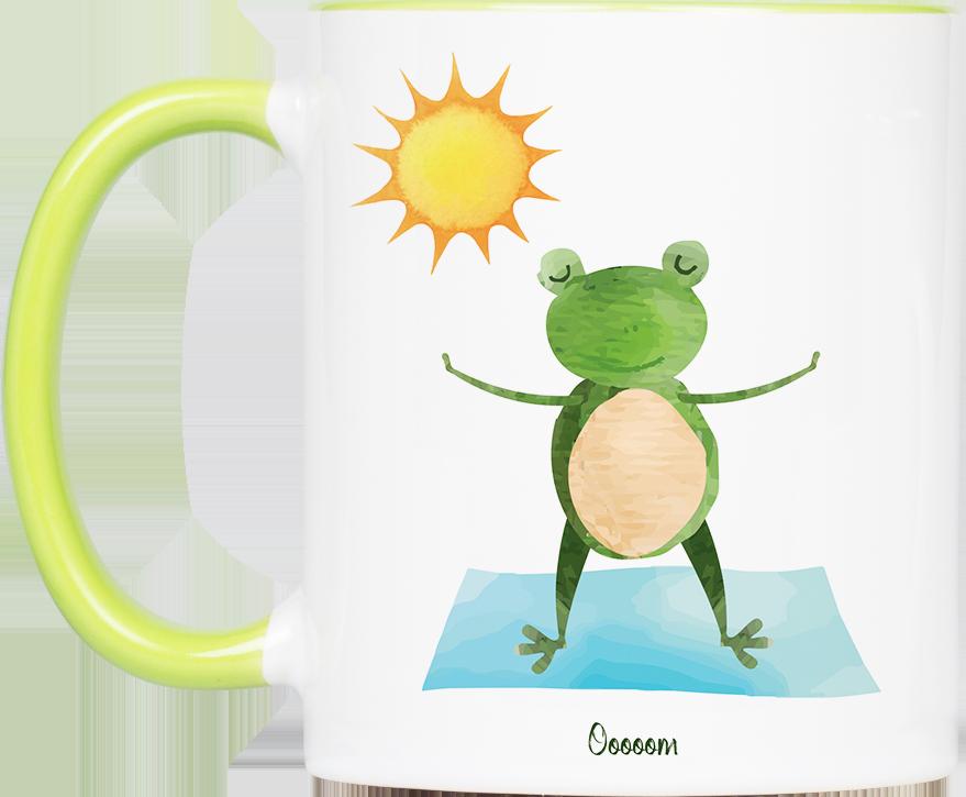 """Tasse Yoga Frosch """"Ooooom"""" (330, 340, 450 ml / mit od. ohne Spruch)"""