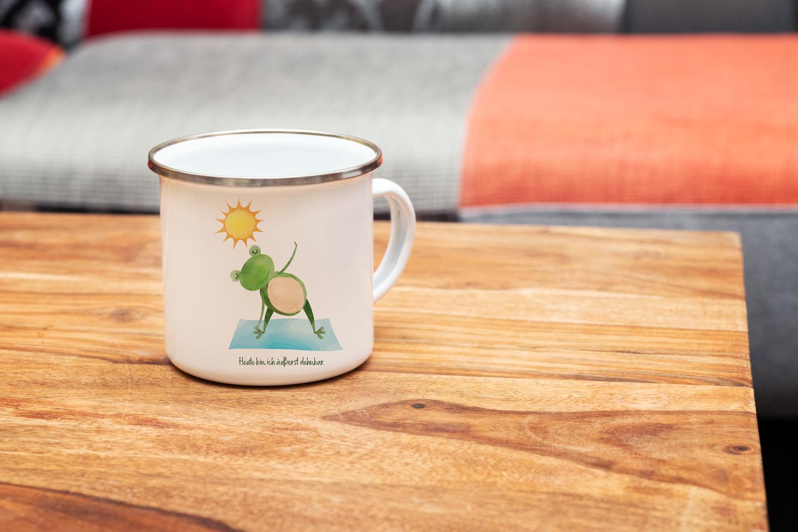 """Tasse Yoga Frosch """"Äußerst dehnbar"""" (330, 340, 450 ml / mit od. ohne Spruch)"""
