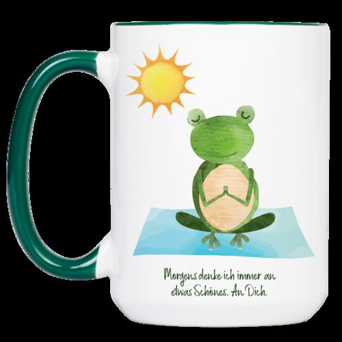 """Tasse Yoga Frosch """"Etwas Schönes"""" (330, 340, 450 ml / mit od. ohne Spruch)"""