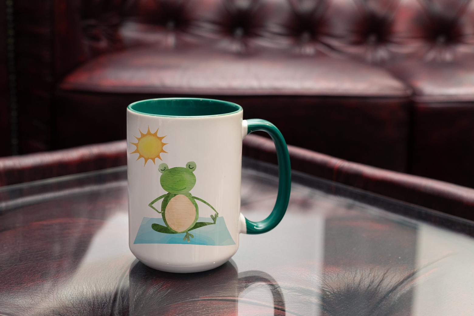 """Tasse Yoga Frosch """"Frosch in mir"""" (330, 340, 450 ml / mit od. ohne Spruch)"""