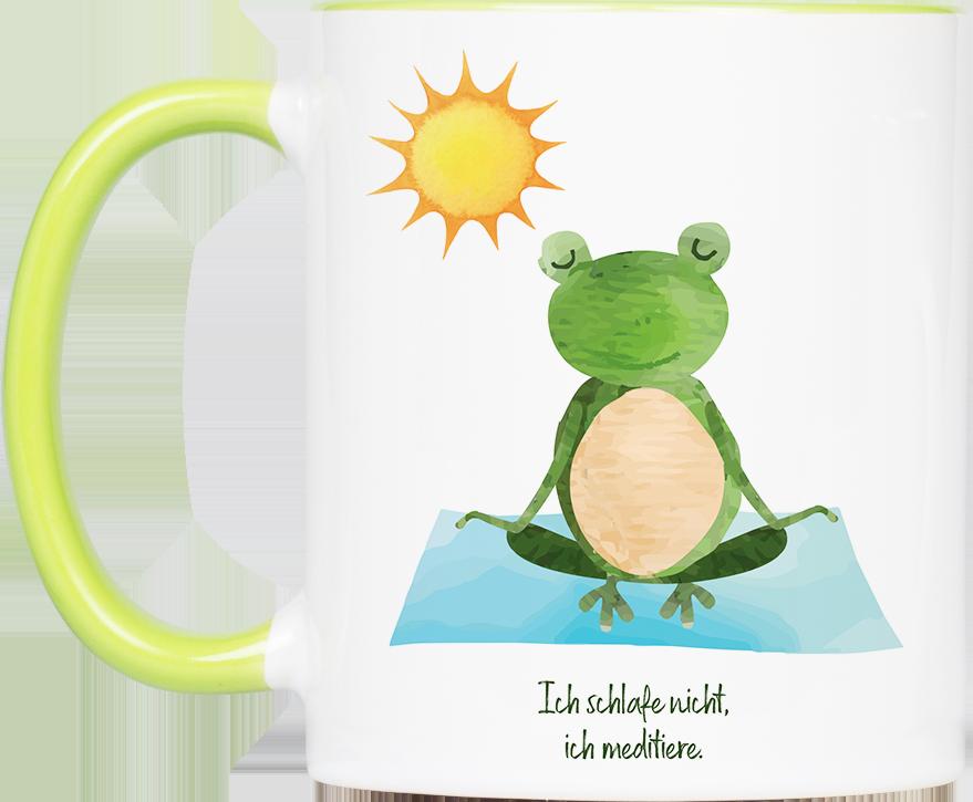 "Tasse Yoga Frosch ""Meditation"" (330, 340, 450 ml / mit od. ohne Spruch)"
