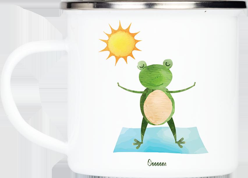 """Tasse Yoga Frosch """"Das Wesentliche"""" (330, 340, 450 ml / mit od. ohne Spruch)"""