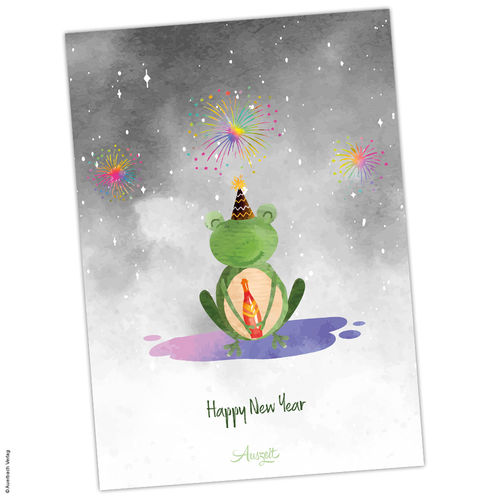 "Postkarte Frosch ""Happy New Year"""