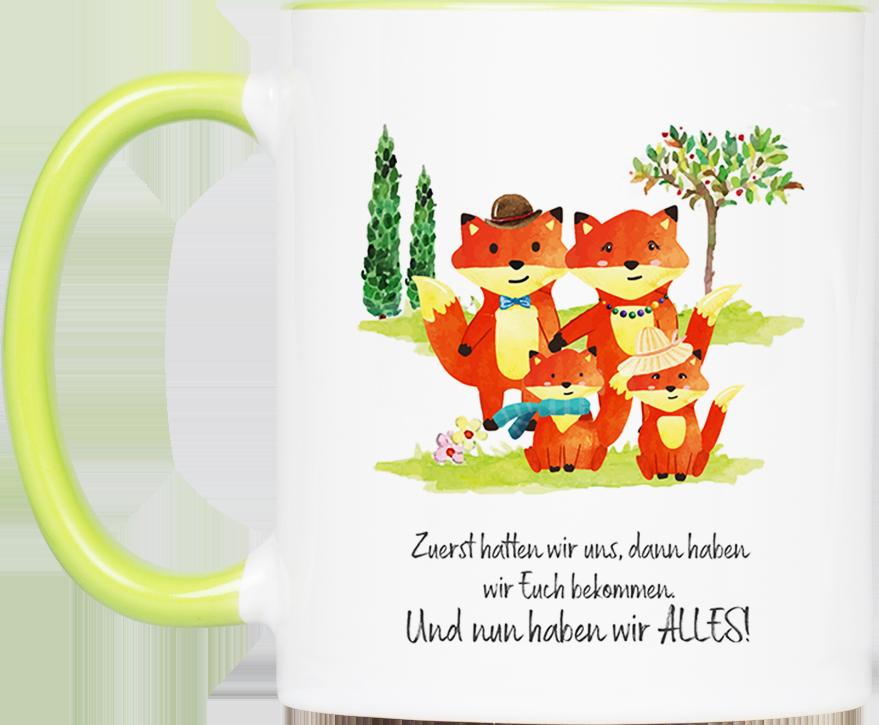 """Tasse Fuchs """"Familie"""" (330, 340, 450 ml / mit od. ohne ..."""