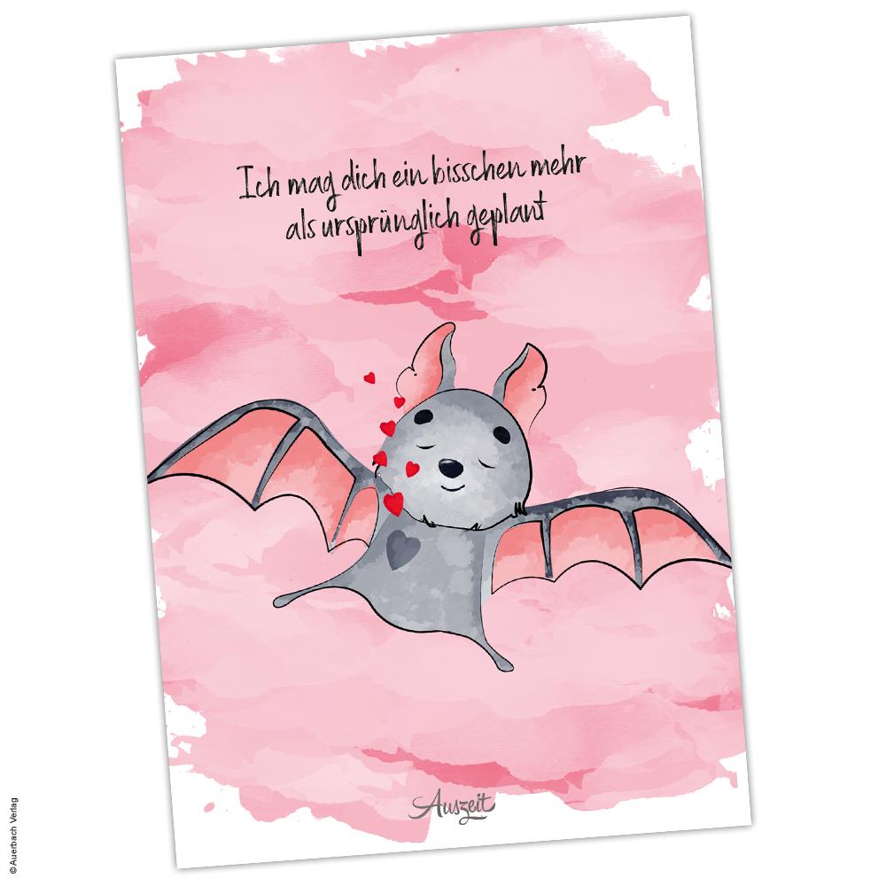 """Postkarte Fledermaus """"Ich mag dich - Auszeit"""